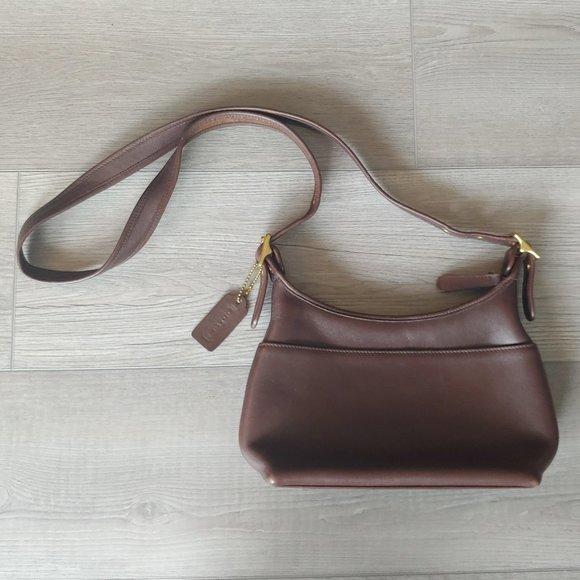 Coach dark brown leather crossbody bag